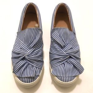 A New Day Blue and White Striped Bow Slides